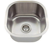 "Polaris P6171 Square Stainless Steel Undermount Bar Kitchen Sink 16"" W x 17"" L - 18 Gauge - Brushed Satin"