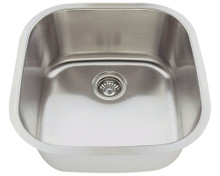 "Polaris P0202 Square Stainless Steel Undermount Bar Kitchen Sink 20 1/8"" W x 20 1/8"" L - 18 Gauge - Brushed Satin"