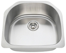 "Polaris P1242-16 Single D-Bowl Stainless Steel Undermount Kitchen Sink 23 3/4"" W x 21 1/4"" L - 16 Gauge - Brushed Satin"