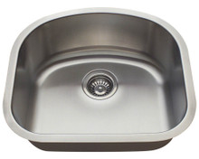 "Polaris P812 Single D-Bowl Stainless Steel Undermount Kitchen Sink 20"" W x 17 3/4"" L - 18 Gauge - Brushed Satin"