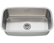 "Polaris P813 Single Bowl Stainless Steel Undermount Kitchen Sink 31 1/2"" W x 18 1/2"" L - 18 Gauge - Brushed Satin"