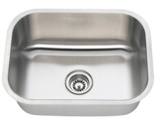 "Polaris P8132 Single Bowl Stainless Steel Undermount Kitchen Sink 23"" x 17 3/4"" L - 18 Gauge - Brushed Satin"