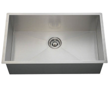 "Polaris PS2233 Rectangular 90 Degree Stainless Steel Undermount Kitchen Sink 32"" W x 19"" L - Brushed Satin"