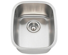 "Polaris P5181-16 Rectangle Stainless Steel Undermount Bar Kitchen Sink - 15 1/4"" W x 19"" L - 16 Gauge - Brushed Satin"