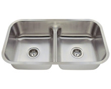 "Polaris P215-18 Low Divide Double Bowl Stainless Steel Undermount Kitchen Sink 32 1/2"" W x 18 1/8"" L - 18 Gauge - Brushed Satin"