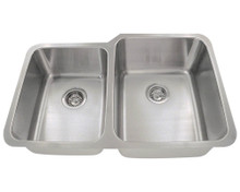 "Polaris PR315 Large Right Bowl Offset Double Stainless Steel Undermount Kitchen Sink 31 7/8"" W x 20 5/8"" L - Brushed Satin"
