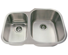 "Polaris PR605-18 Large Right Bowl Offset Double Stainless Steel Undermount Kitchen Sink 29 3/8"" W x 20 3/4"" L - 18 Gauge - Brushed Satin"
