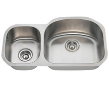 "Polaris PR105 Large Right Bowl Offset Double Stainless Steel Undermount Kitchen Sink 32"" W x 17 3/4"" L - 18 Gauge - Brushed Satin"