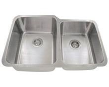 "Polaris PL315 Large Left Bowl Offset Double Stainless Steel Undermount Kitchen Sink 31 7/8"" W x 20 5/8"" L - Brushed Satin"