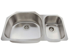 "Polaris PL905-18 Large Left Bowl Offset Double Stainless Steel Undermount Kitchen Sink 35"" W x 21 1/8"" L 18 Gauge - Brushed Satin"