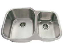 "Polaris PL605-18 Large Left Bowl Offset Double Stainless Steel Undermount Kitchen Sink 29 3/8"" W x 20 3/4"" L 18 Gauge - Brushed Satin"