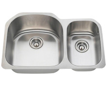 "Polaris PL1213 Large Left Bowl Offset Double Stainless Steel Undermount Kitchen Sink 31 1/2"" W x 20 3/4"" L 18 Gauge - Brushed Satin"