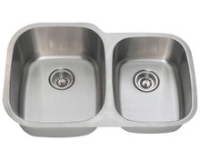 "Polaris PL305 Large Left Bowl Offset Double Stainless Steel Undermount Kitchen Sink 32"" W x 20 3/4"" L 18 Gauge - Brushed Satin"