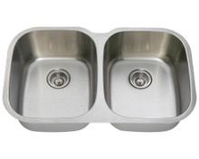 "Polaris P405 Equal Double Bowl Stainless Steel Undermount Kitchen Sink 34 3/4"" W x 20 3/4"" L - 18 Gauge - Brushed Satin"