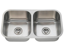 "Polaris PA205 Equal Double Bowl Stainless Steel Undermount Kitchen Sink 32 1/4"" W x 18"" L 18 Gauge - Brushed Satin"