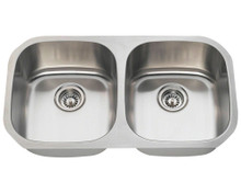 "Polaris P205-16 Equal Double Bowl Stainless Steel Undermount Kitchen Sink 32 1/4"" W x 18"" L - 16 Gauge - Brushed Satin"