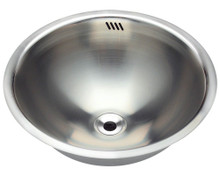 "Polaris P024 Round Stainless Steel Bathroom Sink - Undermount , Topmount or Vessel - 16 1/4"" Diameter - Brushed Satin"
