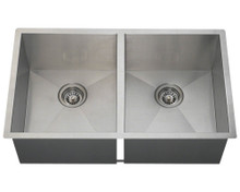 "Polaris PD2233 Double Equal 90 Degree Stainless Steel Undermount Kitchen Sink 32"" W x 19"" L - Brushed Satin"