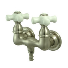"Kingston Brass 3-3/8"" Wall Mount Clawfoot Tub Filler Faucet - Satin Nickel CC39T8"