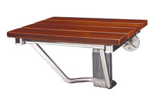 DreamLine Folding Shower Seat - Natural Teak Wood - Chrome Trim - SHST-01-TK