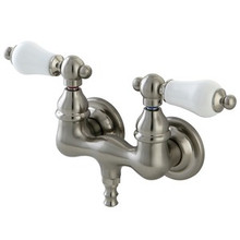 "Kingston Brass 3-3/8"" Wall Mount Clawfoot Tub Filler Faucet - Satin Nickel CC35T8"