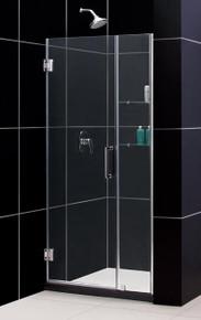 "DreamLine UNIDOOR Frameless 40""-41"" Adjustable Shower Door with Glass Shelves - Chrome Trim - SHDR-20407210S"