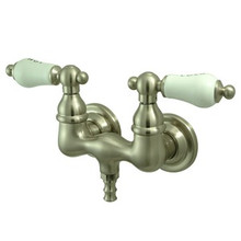 "Kingston Brass 3-3/8"" Wall Mount Clawfoot Tub Filler Faucet - Satin Nickel CC33T8"