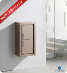 """Fresca FST8140GO 15.75""""W x 32""""H Bathroom Linen Side Cabinet w/ 2 Doors - Gray Oak"""