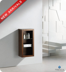 "Fresca FST8130WG 15.75""W x 30""H Brown Bathroom Linen Side Cabinet w/ 2 Glass Shelves - Wenge Brown"