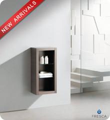 """Fresca FST8130GO 15.75""""W x 30""""H  Bathroom Linen Side Cabinet w/ 2 Glass Shelves - Gray Oak"""