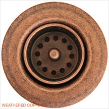 "Linkasink D001 WC 1 7/8"" Junior Bar or Lav Sink Basket  Strainer & Flange  - Weathered Copper"
