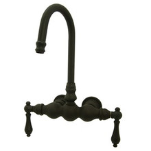"Kingston Brass 3-3/8"" Wall Mount Clawfoot Tub Filler Faucet - Oil Rubbed Bronze"