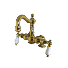"Kingston Brass 3-3/8"" Deck Mount Clawfoot Tub Filler Faucet - Polished Brass CC1093T2"