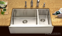 "Hamat HUDSON Farmhouse 60/40 Double Bowl 33"" x 20"" Kitchen Sink - Stainless Steel"