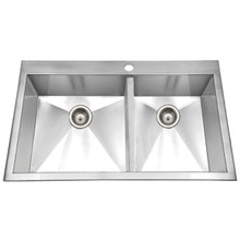 Hamat CONTRIVE Zero Radius 33'' x 22'' Topmount Double Bowl Kitchen Sink - Stainless Steel