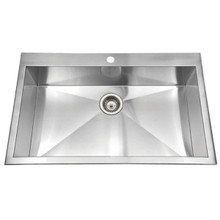 Hamat CONTRIVE 33'' x 22'' Topmount Zero Radius Single Bowl Kitchen Sink - Stainless Steel