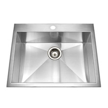 "Hamat CONTRIVE 25"" X 22"" Topmount Zero Radius Single Bowl Kitchen Sink - Stainless Steel"