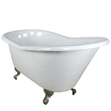 "Kingston Brass 60"" Cast Iron Slipper Clawfoot Bathtub w/o Faucet Drillings - White With Satin Nickel Tub Feet"