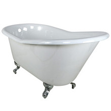 "Kingston Brass 60"" Cast Iron Slipper Clawfoot Bathtub & w/o Faucet Drillings - White With Chrome Tub Feet"