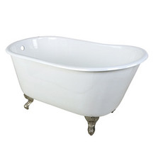 "Kingston Brass 53"" Cast Iron Slipper Clawfoot Bathtub w/o Faucet Drillings - White With Satin Nickel Tub Feet"