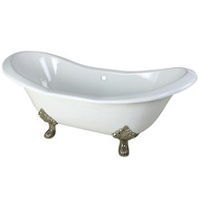"Kingston Brass 72"" Cast Iron Double Slipper Clawfoot Bathtub & w/o Faucet Drillings - White With Satin Nickel Tub Feet"