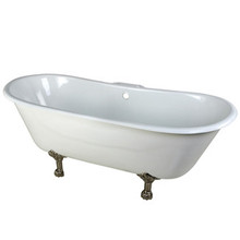 "Kingston Brass 67"" Cast Iron Double Slipper Clawfoot Bathtub & 7"" Centers Faucet Drillings - White With Satin Nickel Tub Feet"