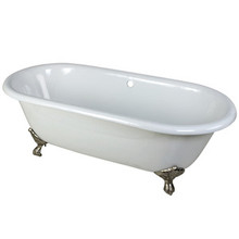 "Kingston Brass 66"" Cast Iron Double Ended Clawfoot Bathtub w/o Faucet Drillings - White With Satin Nickel Tub Feet"