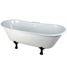 "Kingston Brass 67"" Cast Iron Double Slipper Clawfoot Bathtub & 7"" Centers Faucet Drillings - White With Oil Rubbed Bronze Tub Feet"