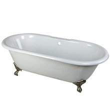 "Kingston Brass 66"" Cast Iron Double Ended Clawfoot Bathtub & 7"" Centers Faucet Drillings - White With Satin Nickel Tub Feet"