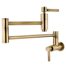 Kingston Brass Wall Mount Pot Filler Kitchen Faucet - Vintage Brass