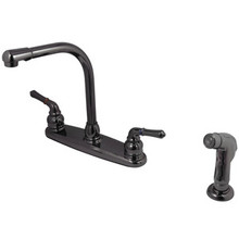Kingston Brass Two Lever Handle Kitchen Faucet & Side Spray - Black Nickel