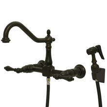 Kingston Brass Two Handle Widespread Wall Mount Kitchen Faucet & Side Spray - Oil Rubbed Bronze