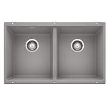 "Blanco Precis 516319 Undermount 18 1/8"" x 29 3/4"" Double Bowl Silgranit Kitchen Sink - Metallic Gray"