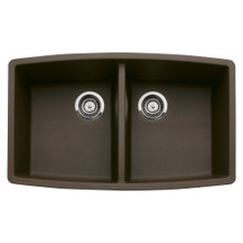"Blanco Performa 440068 Undermount 33"" x 20"" Double Bowl Silgranit Kitchen Sink - Cafe Brown"
